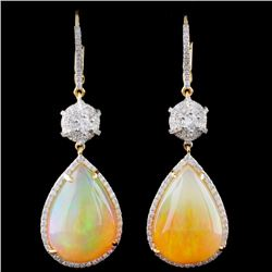 18K Gold 18.53ct Opal & 0.95ct Diamond Earrings