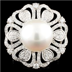 18K Gold 13MM Pearl & 1.61ctw Diamond Ring