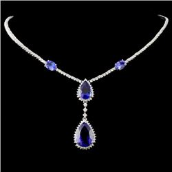 18K White Gold 15.42ct Tanzanite & 3.76ctw Diamond