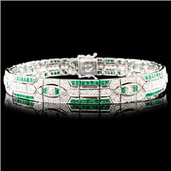 18K Gold 3.40ct Emerald & 2.04ctw Diamond Bracelet