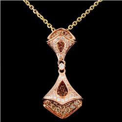 14K Gold 0.70ctw Fancy Color Diamond Pendant
