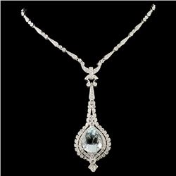 14K Gold 9.98ct Aquamarine & 2.89ctw Diamond Neckl