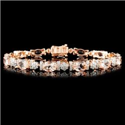 14K Gold 9.15ctw Morganite & 1.50ctw Diamond Brace