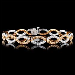 14K Gold 3.88ctw Fancy Diamond Bracelet