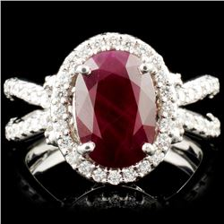 14K Gold 3.53ct Ruby & 0.90ctw Diamond Ring