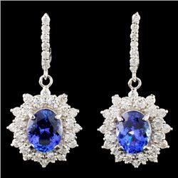 14K Gold 4.00ctw Tanzanite & 1.47ctw Diamond Earri