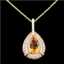 14K Gold 3.93ct Citrine & 1.63ctw Fancy Color Diam