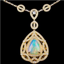 18K Gold 15.00ct Opal & 4.60ctw Diamond Necklace