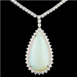 18K Gold 13.75ct Opal & 3.84ctw Diamond Necklace