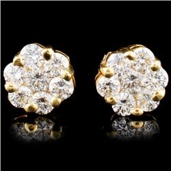 18K Gold 0.92ctw Diamond Earrings