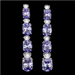 `14k Gold 7ct Tanzanite 0.45ct Diamond Earrings