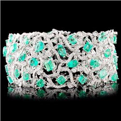 18K Gold 18.40ct Emerald & 4.88ctw Diamond Bracele