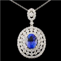 18K Gold 2.09ct Tanzanite & 1.86ctw Diamond Pendan