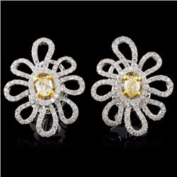 18K White Gold 1.46ctw Fancy Color Diamond Earring