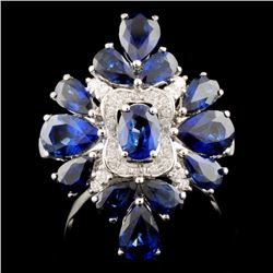 18K Gold 4.95ct Sapphire & 0.34ct Diamond Ring