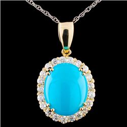 14K Gold 2.85ct Turquoise & 0.50ctw Diamond Pendan