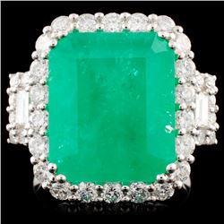 18K Gold 9.12ct Emerald & 1.75ctw Diamond Ring
