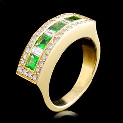 18K Gold 1.14ctw Tsavorite & 0.73ctw Diamond Ring