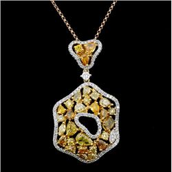 18K Gold 3.42ctw Fancy Color Diamond Pendant