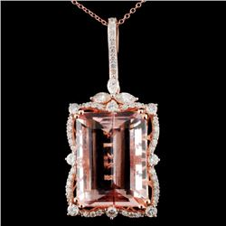 14K Gold 23.10ct Morganite & 1.45ctw Diam Pendant