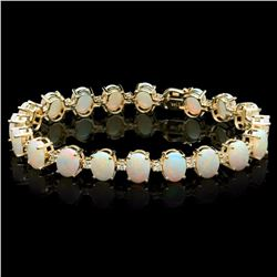 `14k Gold 18ct Opal 1.50ct Diamond Bracelet
