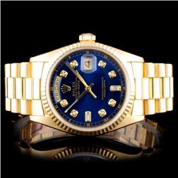 Rolex 18K YG Day-Date Men's Diamond Watch