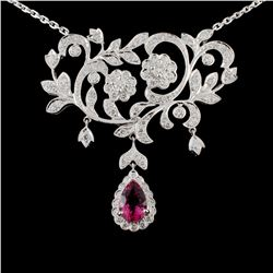 18K Gold 1.42ct Tourmaline & 1.63ctw Diamond Neckl