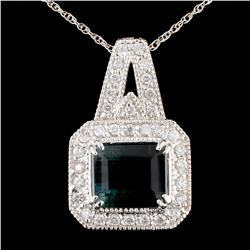 14K Gold 3.30ct Tourmaline & 0.41ctw Diamond Penda
