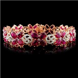 14K Gold 20.68ct Ruby & 1.65ctw Diamond Bracelet