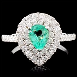 18K Gold 0.52ct Emerald & 0.80ctw Diamond Ring