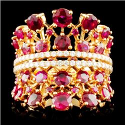 18K Rose Gold 4.67ct Ruby and 0.45ctw Diamond Ring