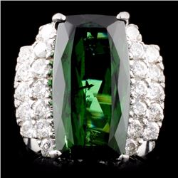 14K Gold 8.57ct Tourmaline & 0.99ctw Diamond Ring