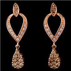 14K Rose Gold 0.67ctw Fancy Color Diamond Earrings