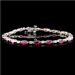14K Gold 5.26ctw Ruby & 0.30ctw Diamond Bracelet