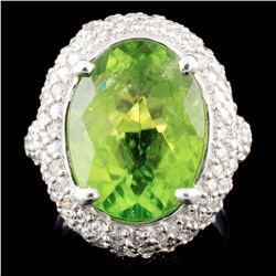 14K Gold 9.28ct Peridot & 2.40ctw Diamond Ring