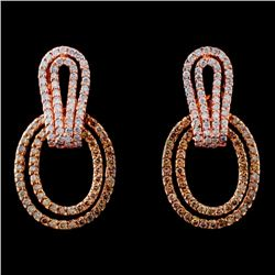 14K Rose Gold 1.25ctw Fancy Color Diamond Earrings