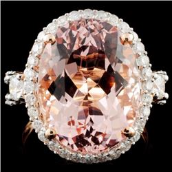 14K Rose Gold 10.26ct Morganite & 1.00ct Diamond R