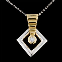 14K TT Gold 0.21ct Diamond Pendant