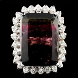 14K Gold 24.06ct Tourmaline & 0.77ctw Diamond Ring