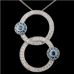 18K White Gold 1.28ctw Fancy Color Diamond Pendant