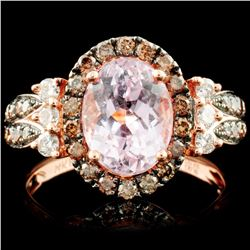 14K Rose Gold 2.55ct Kunzite & 0.72ctw Diamond Rin