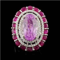 18K Gold 10.25ct Kunzite & 0.72ct Diamond Ring