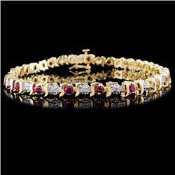 14K Yellow Gold 1.80ct Ruby & 0.25ct Diamond Brace