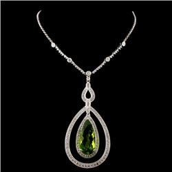 14K White Gold 9.29ct Peridot & 1.95ct Diamond Nec