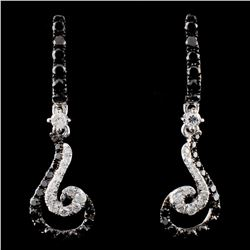 14K White Gold 0.93ctw Fancy Diamond Earrings