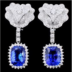 18K Gold 8.24ct Tanzanite & Diamond Earrings