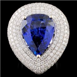 18K White Gold 12.77ct Tanzanite & 3.79ctw Diamond