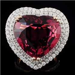 18K Gold 16.47 Rubellite & 1.76ct Diamond Ring