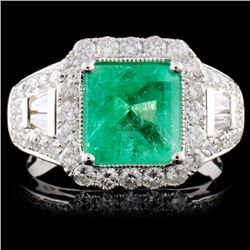 18K White Gold 2.13ct Emerald & 1.11ct Diamond Rin