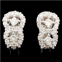 18K Gold 1.58ctw Diamond Earrings
